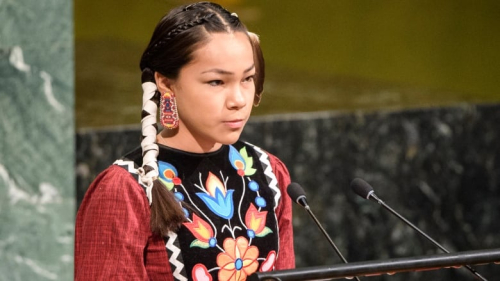 Nov 20 photo - Autumn Peltier of Manitoulin Island  a 13-year-old activist addresses the United Nations General Assembly on water day. Photo retrieved from <https:::www.cbc.ca:news:canada:autumn-peltier-un-water-activist-united-nations-1.4584871>.
